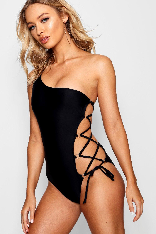 One Shoulder Lace Up Swimsuit | Boohoo UK