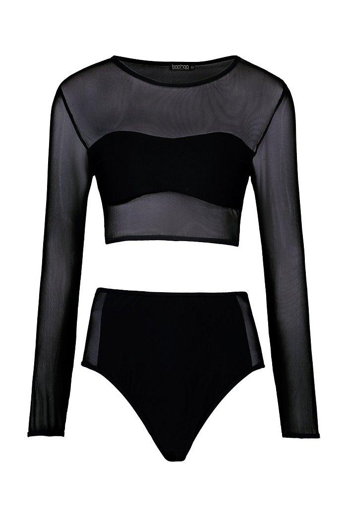 Mesh Long Sleeved Rashguard Bikini