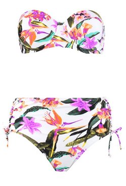White Oriental Floral Underwired High Waisted Bikini