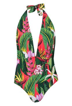 Red LA Tropicana Plunge Halterneck Swimsuit