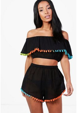 Black Rainbow Neon Pom Pom Beach Co-Ord