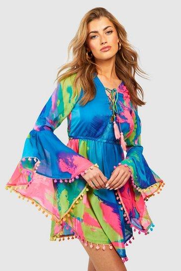 Multi Tropical Pom Pom Beach Dress