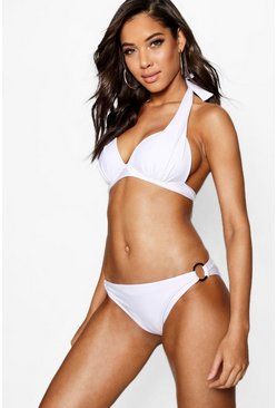 White Moulded Push Up Plunge Enhance Triangle Bikini