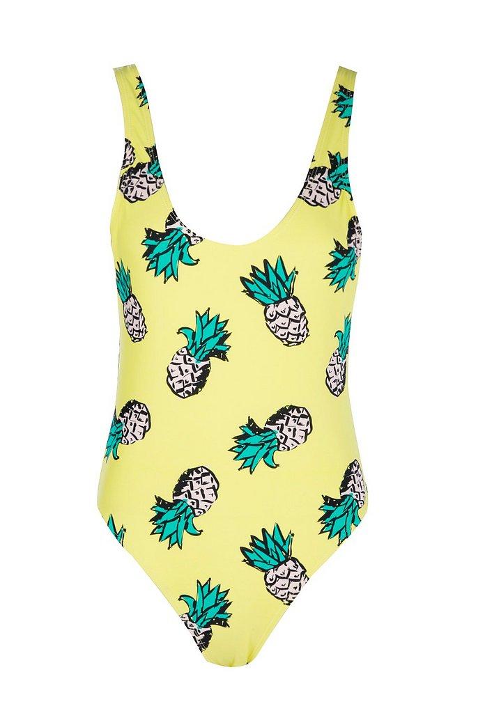 ibiza maillot de bain à encolure dégagée ananas   boohoo