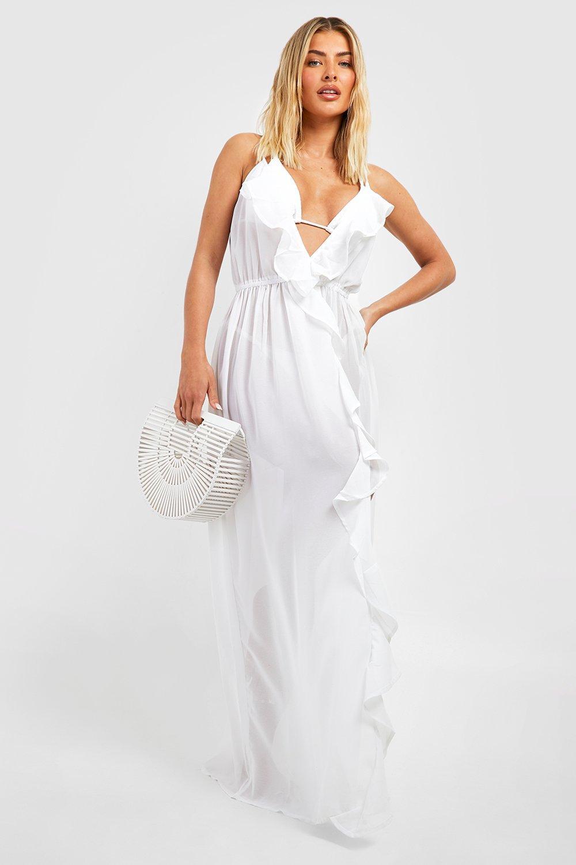 Beach Dresses Frill Split Maxi Beach Dress