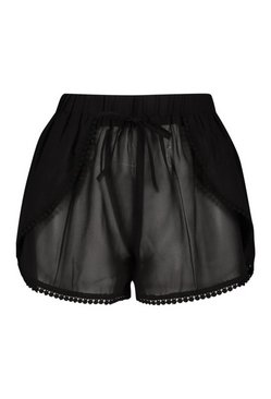 Black Ball Lace Beach Shorts