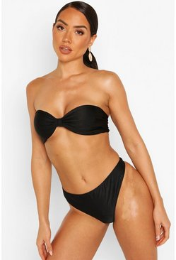 Black Gathered Brazilian Thong Bikini Brief