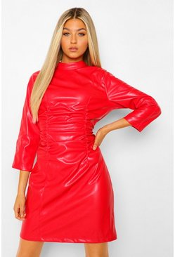Red Tall Pu Ruched Front Long Sleeve Bodycon Dress