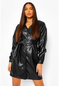 Black Tall Pu Belted Long Sleeve Mini Dress