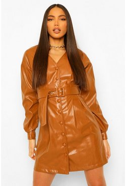 Tan brown Tall Pu Belted Long Sleeve Mini Dress
