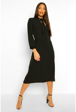Black Tall Pussybow Midi Skater Dress