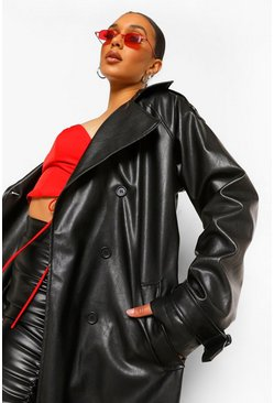 Black Tall Faux Leather Trench Coat