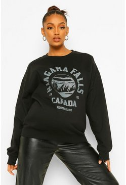 Black Maternity Niagara Falls Graphic Oversized Sweat