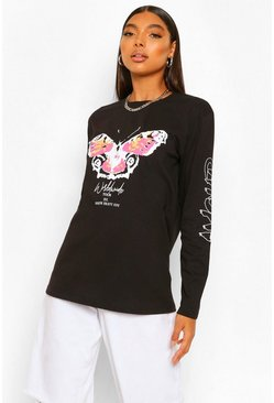 Black Tall Amour Butterfly Graphic Long Sleeve T-Shirt