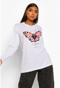 White Tall Amour Butterfly Graphic Long Sleeve T-Shirt