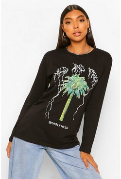 Black Tall Beverly Hills Graphic Long Sleeve T-Shirt
