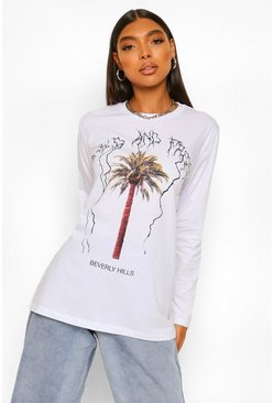 White Tall Beverly Hills Graphic Long Sleeve T-Shirt