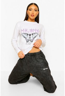 White Tall Milano Butterfly Slogan Long Sleeve T-Shirt