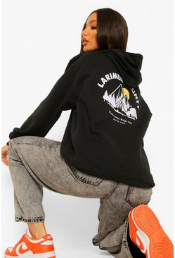 Black Tall Larimer Country Back Print Hoodie