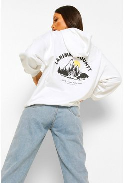 White Tall Larimer Country Back Print Hoodie