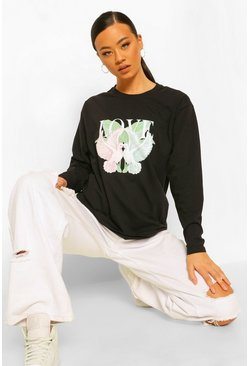 Black Tall Dove Love Graphic Long Sleeve T-shirt