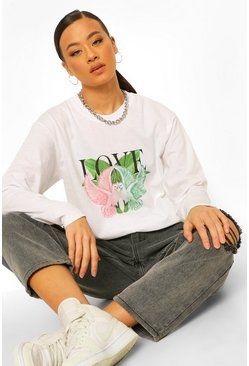 White Tall Dove Love Graphic Long Sleeve T-shirt