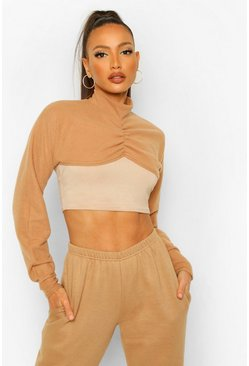 Tan brown Tall Brushed Rib Knit Layer Over Crop Top