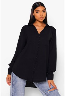 Black Tall Woven Button Shirt