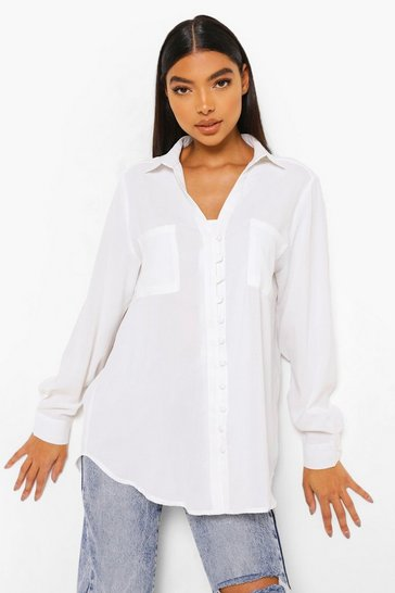 White Tall Woven Button Shirt