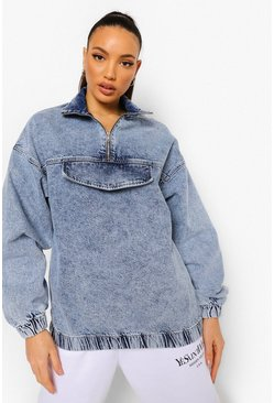 Light blue blue Tall Zip Front Denim Pullover Jacket