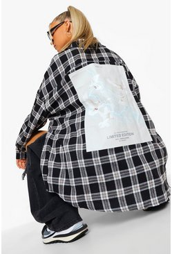 Black Tall Graphic Back Checked Shirt