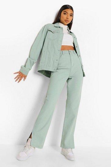 Sage green Tall Split Hem Jeans