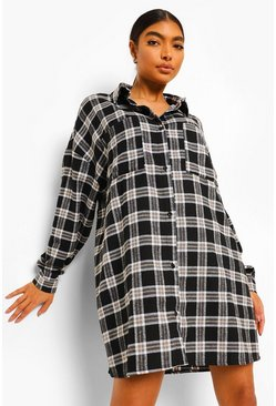 Black Tall Oversized Checked Shirt Dress