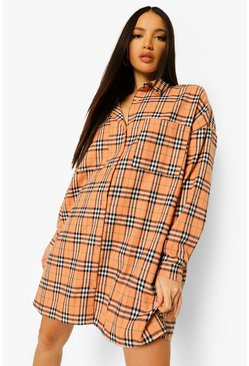 Orange Tall Oversized Checked Shirt Dress
