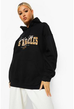 Black Tall Oversized Los Angeles Hoodie