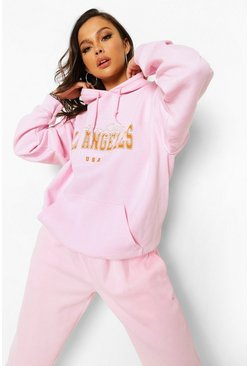 Pink Tall Oversized Los Angeles Hoodie