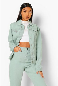 Sage green Tall Oversized Denim Jacket