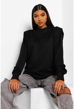 Black Tall Oversized Shoulder Pad Sweat