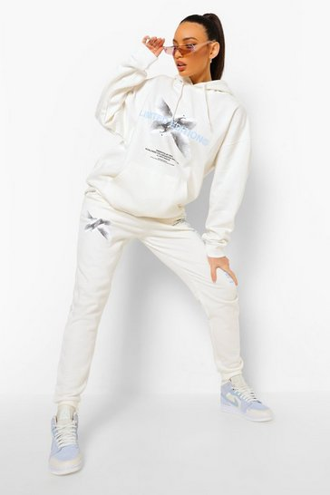 Ecru white Tall Dove Graphic Joggers
