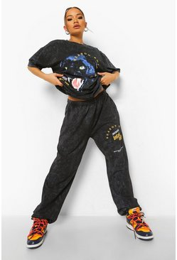 Black Tall Oversized Graphic Acid Wash Tracksuit