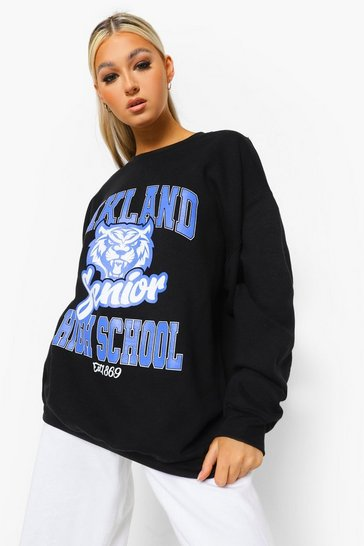 Black Tall Oversized Oakland Sweatshirt