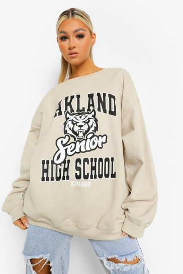 Sand beige Beige Tall Oversized Oakland Sweatshirt