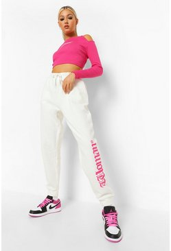 Ecru vit Tall - Woman Joggers med slogan