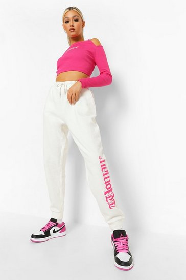 Ecru white White Tall Woman Slogan Joggers