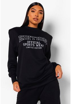 Black Tall Oversized Slogan Shoulder Pad Sweat