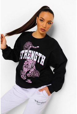 Black Tall Oversized Tiger Sweatshirt