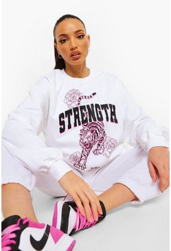 White Tall Oversized Tiger Sweatshirt