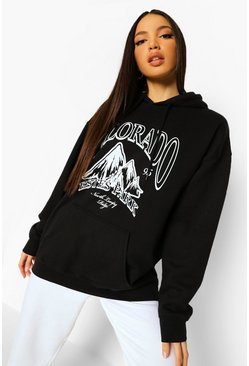 Black Tall Colorado Graphic Hoodie