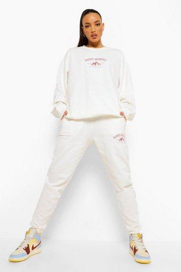 Ecru white White Tall Graphic Joggers