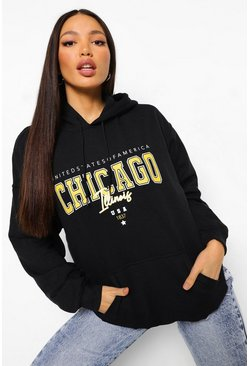 Black Tall Oversized Chicago Hoodie